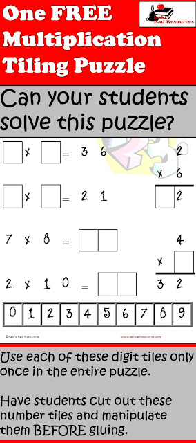 Free download - multiplication tiling puzzle for your math centers - Raki's Rad Resources
