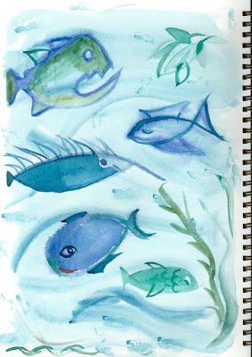 Aquarell mit Fischen