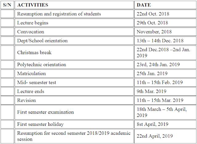 ACADEMIC CALENDAR FOR 2018/2019