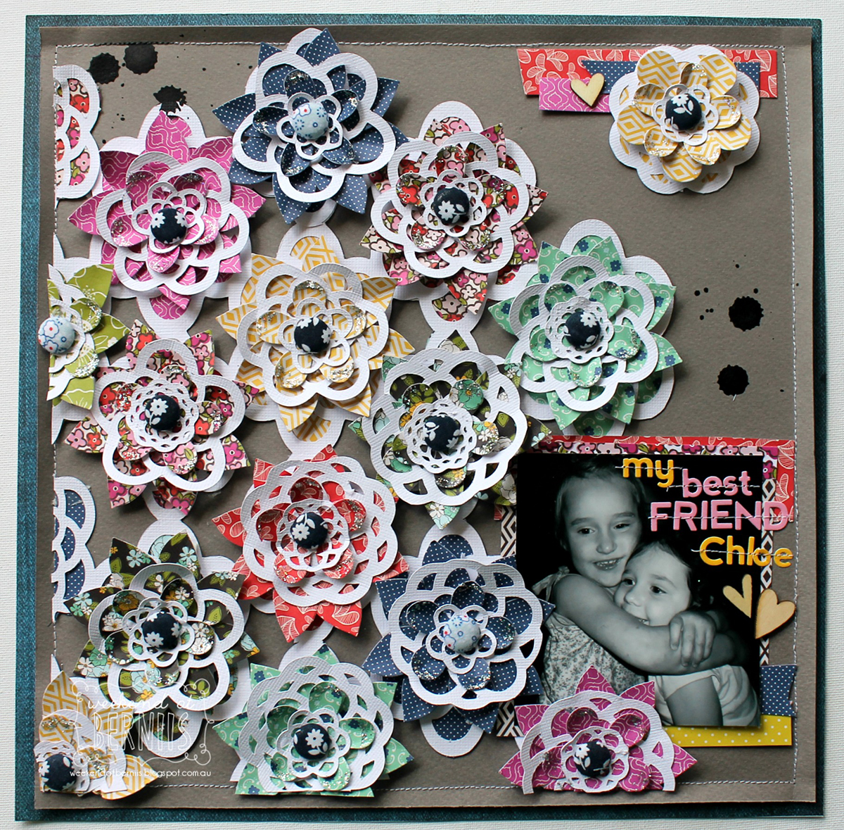 Best Friend Scrapbook Page by Bernii Miller Guest Designer for 17turtles using Lace Flowers Digital Cut File