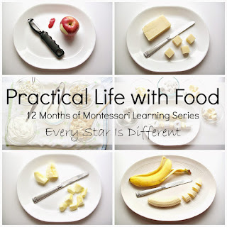 Montessori-inspired practical life with food activities for kids.