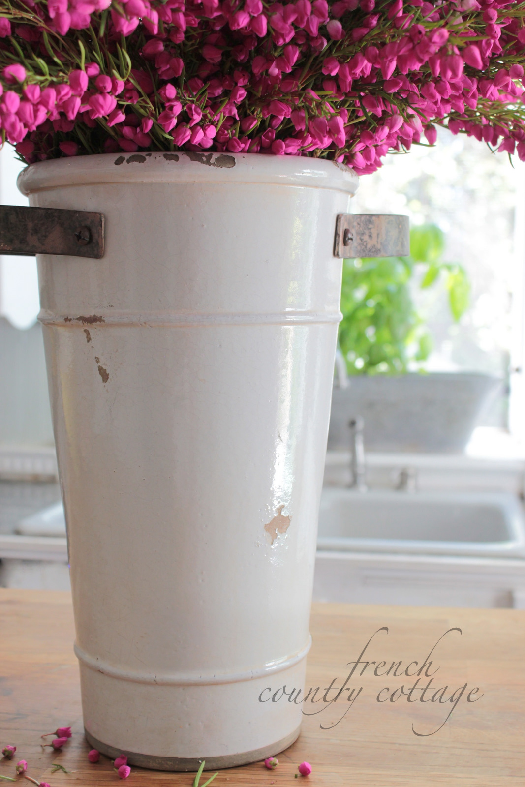 White flower bucket french country cottage even though its brand new mightylinksfo