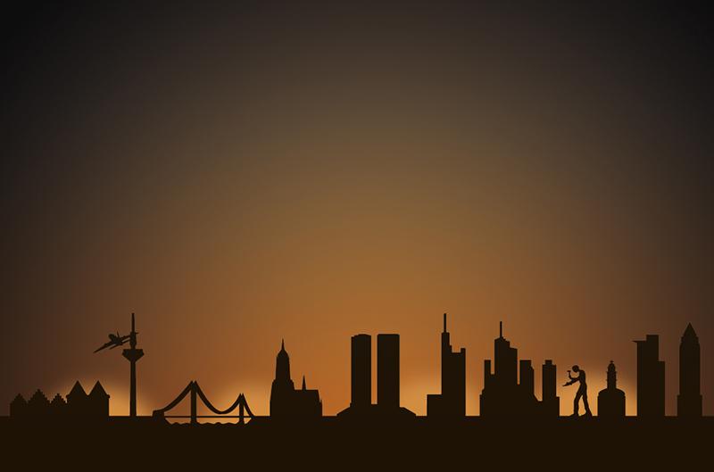 Frankfurt city skyline candle holder