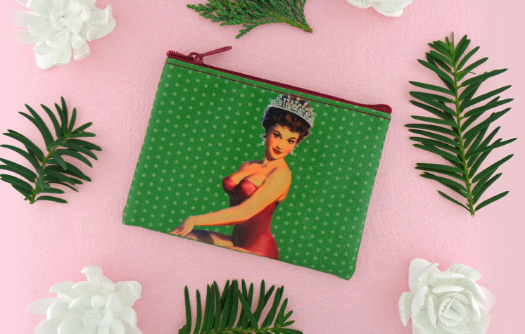 LAVISHY vegan leather fun pinup girl coin purses, wallets and luggage tag. Wholesale: www.lavishy.com Retail: www.lavishy.ca