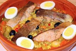 trout tagine tout carrot with charmoula