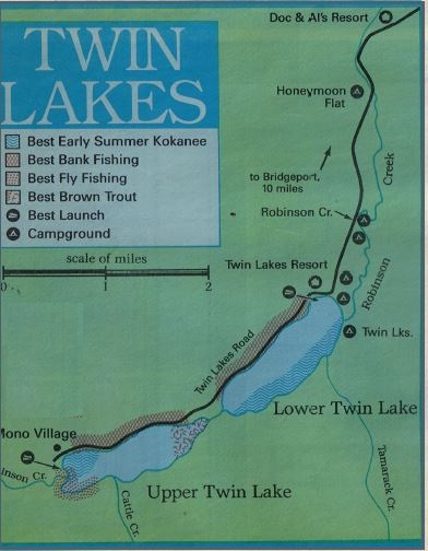 How to fish twin lakes, twin lake fishing report and map