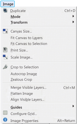 Image Menu of GIMP