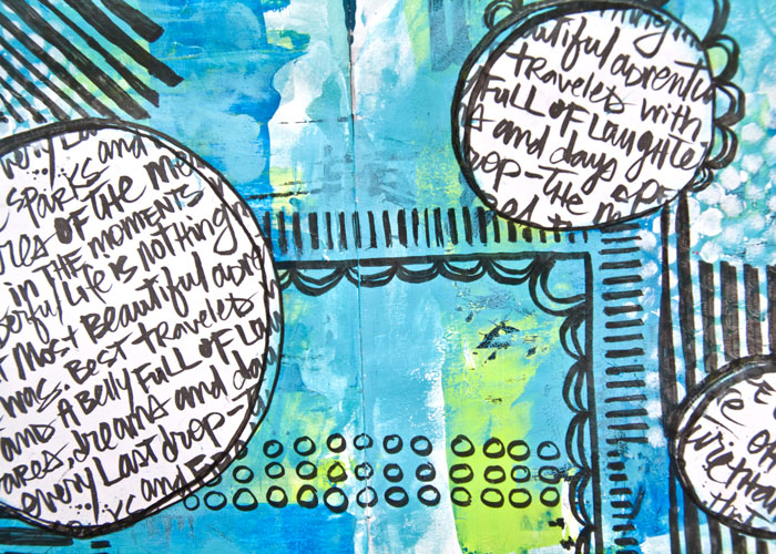 Close up view of Art Journal Page. Video tutorial by Kim Dellow