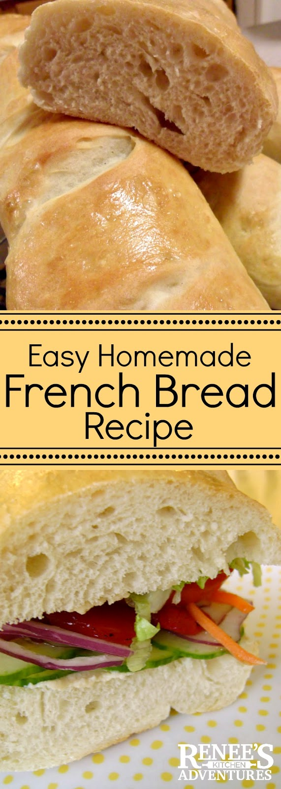 Easy Homemade French Bread Recipe| by Renee's Kitchen Adventures - easy recipe for homemade French Bread baked in your own oven! #frenchbread #bread #breadrecipe #easyrecipe #easybreadrecipe #homemadebread