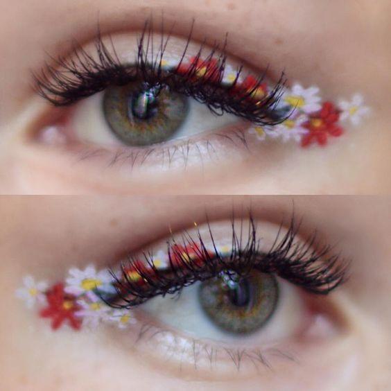 make-up summer look flowers