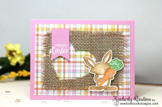 Bunny card by Kimberly Rendino | Hello Spring Stamp set by Newton's Nook Designs #newtonsnook #bunny #spring