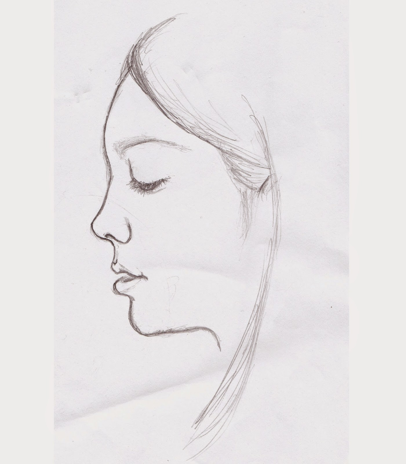 Profile Sketch of Isabella, pencil drawing on paper