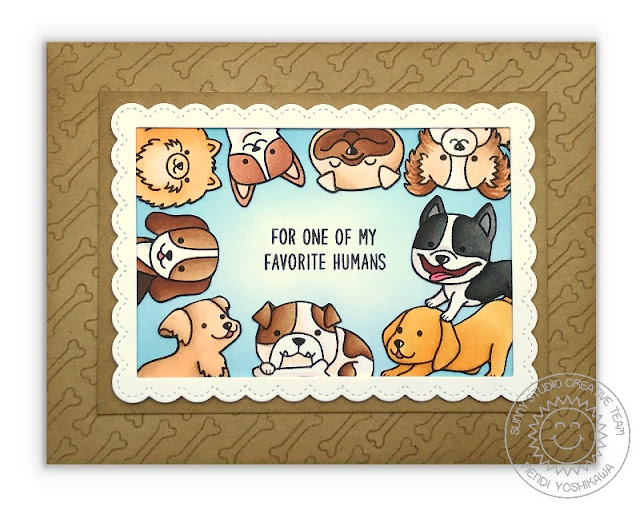 "Sunny Studio Stamps: Party Pups & Devoted Doggies ""For My Favorite Human"" Dog Card by Mendi Yoshikawa"