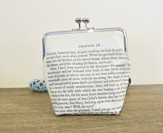 image purse clutch bag handmade domum vindemia jane eyre quote reader i married him kisslock bridal wedding