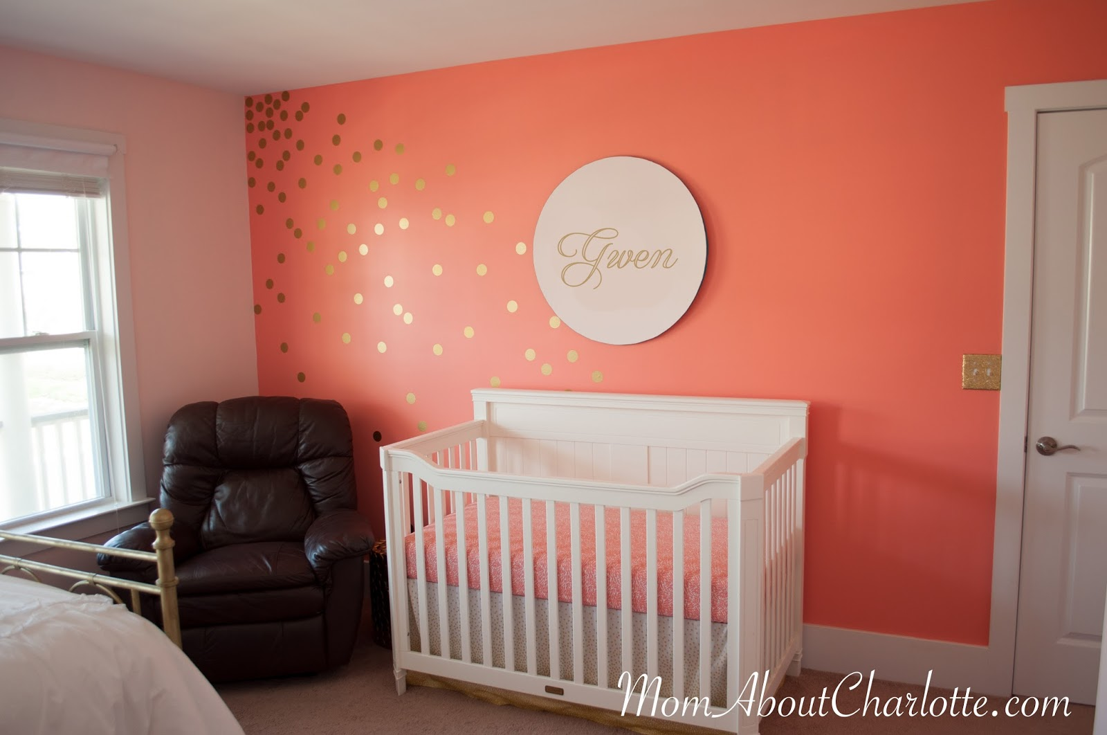 Gold coral amp teal nursery get the look mom about charlotte