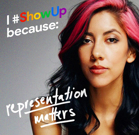image of Stephanie Beatriz, a thin Latina woman with a pink streak in her hair, to which text has been added reading: 'I #ShowUp because representation matters'