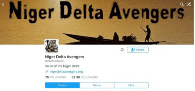 Niger delta twitter account suspended