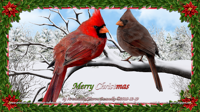 Cardinal Christmas art by/copyrighted to Artsieladie