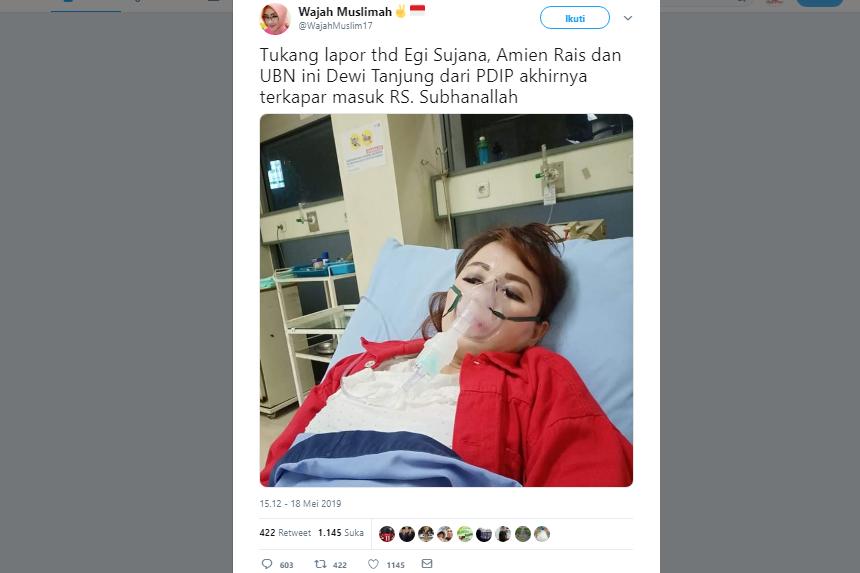pelapor Amien Rais masuk rumah sakit