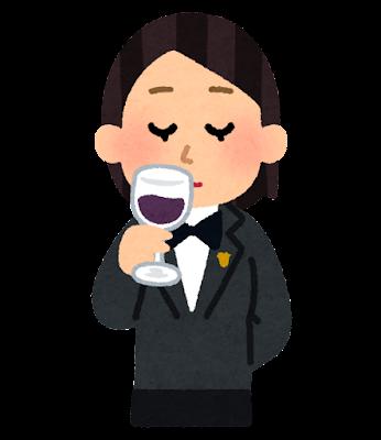 ワインのテイスティングのイラスト(女性)