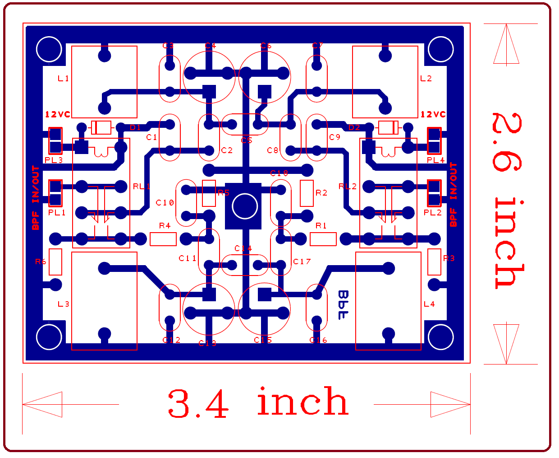 Ham Radio MIPL: PCB - BAND PASS FILTER - 2B TRX - V1 1