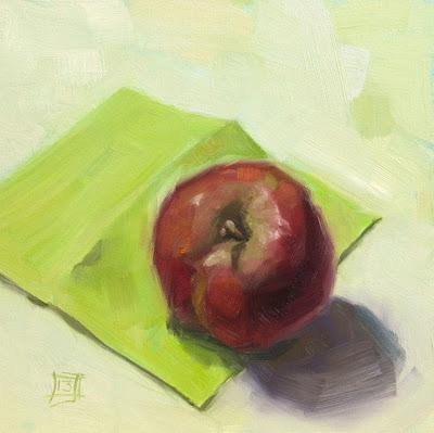 Odd Shaped Apple - Oil on Panel - 20cm x 20cm