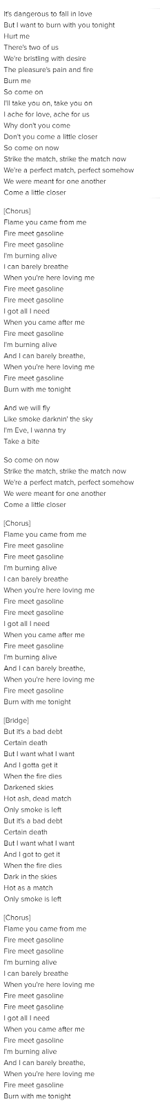 Testo Lyrics Fire Meet Gasoline Sia
