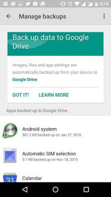Use Auto App Backup - Android marshmallow hidden features
