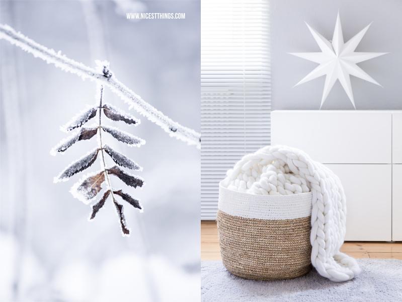 Winter Deko: verschneites Blatt mit Frost und Korb mit Grobstrick Decke