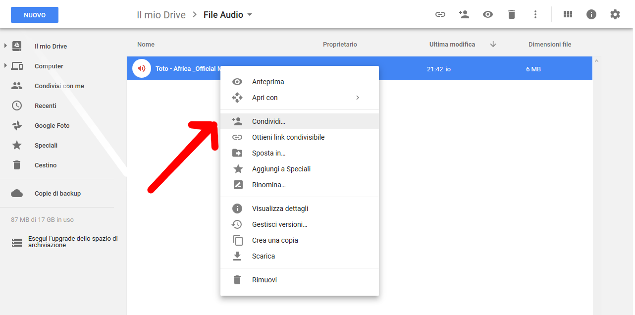 Condividere file audio Google Drive