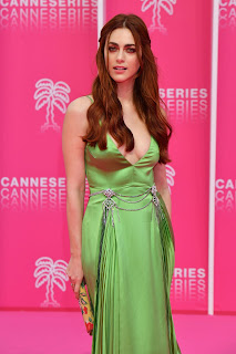 Miriam Leone in Green Dress at 2019 Cannesseries in Cannes