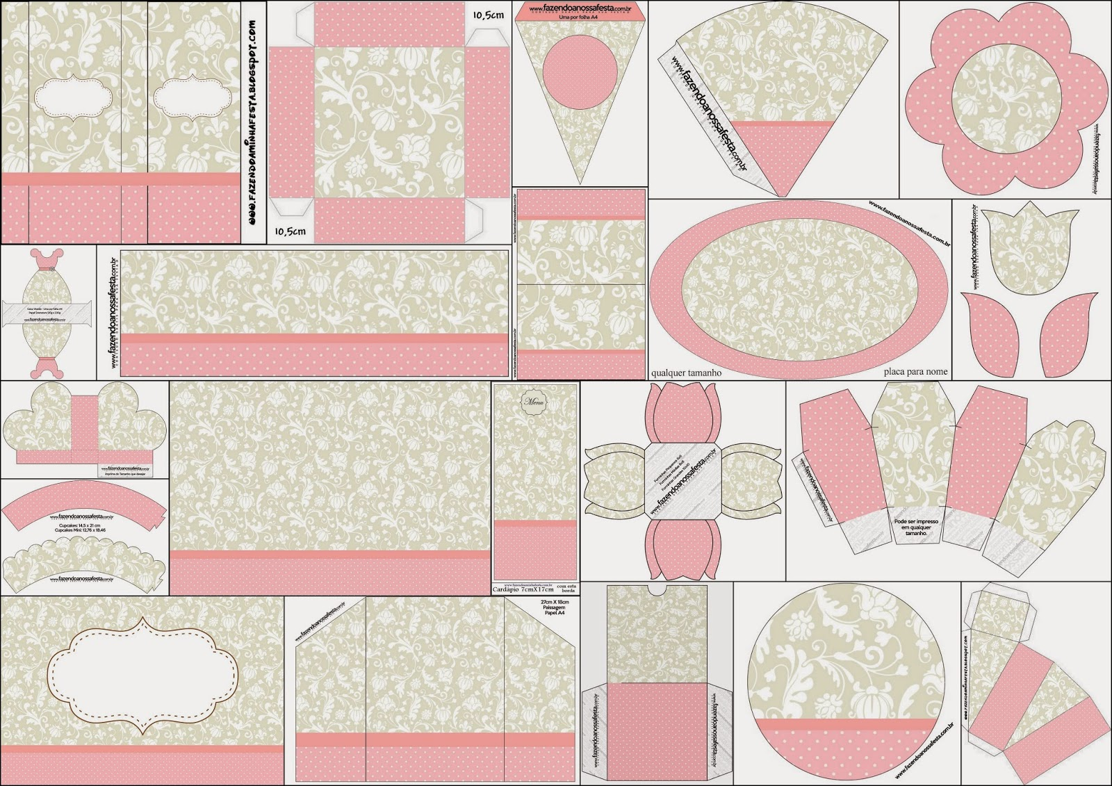 Provencal in Pink and Gray: Free Printable Kit.