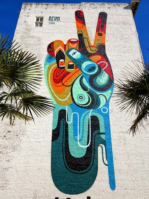 """Peace, Man"" New Street Art Mural By Australian Artist REKA in San Francisco, USA 4"