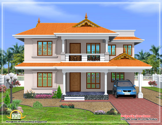 Kerala style sloped roof house - 2350 Sq. Ft. - April 2012