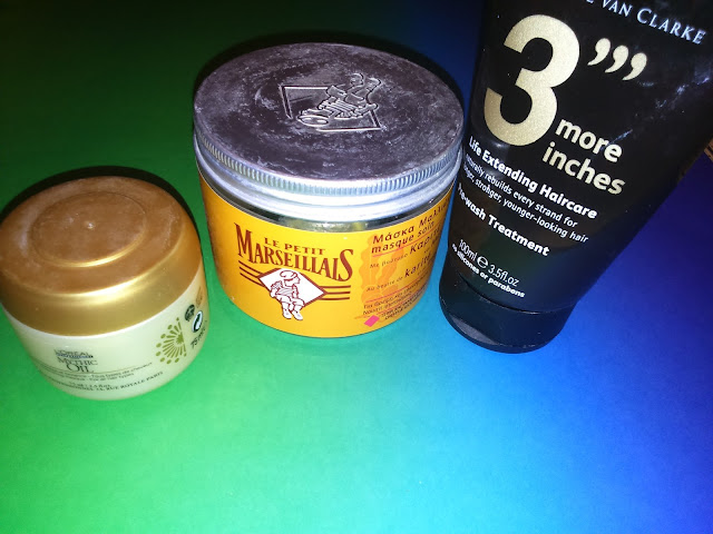 L'oreal Mythic Oil Nourishing mask, Le petit Marseillais masque soin au beurre de karite et au miel, Michael Van Clarke 3''' more inches Pre-Wash treatment