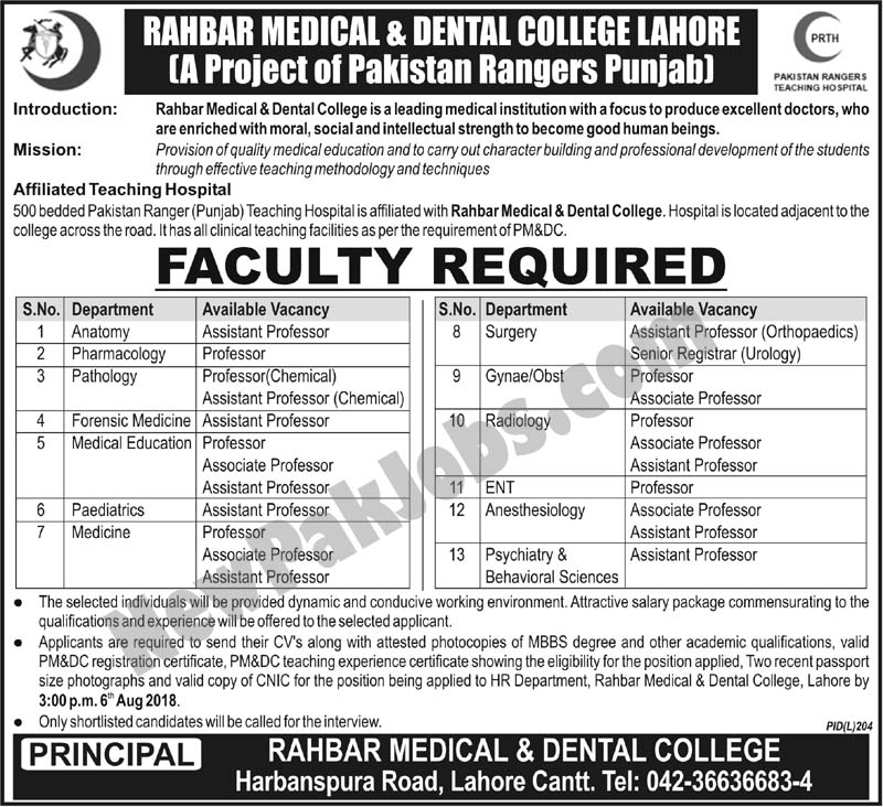 Rahbar Medical and Dental College Lahore Cantt Jobs