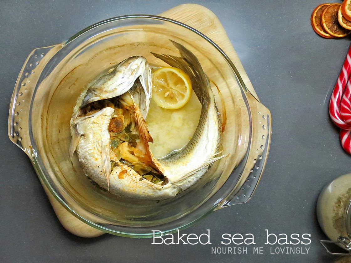 Baked whole sea bass