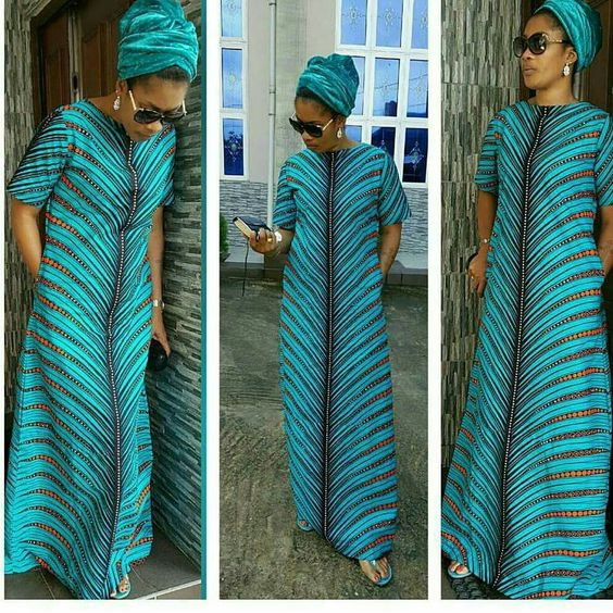 A Shape Ankara Long Gowns With Side Pockets Reigning