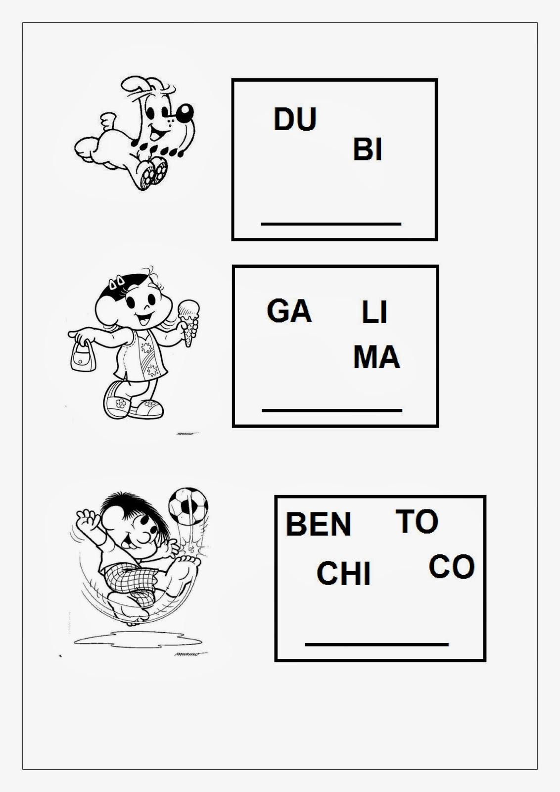 Alfabetizando com a Turma da Mônica - Continuação: Desembaralhe as sílabas e descubra o nome dos personagens.