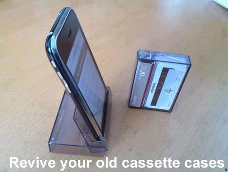 Reviving old cassette cases as phone holders