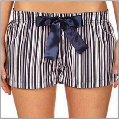 White and navy striped sleep shorts