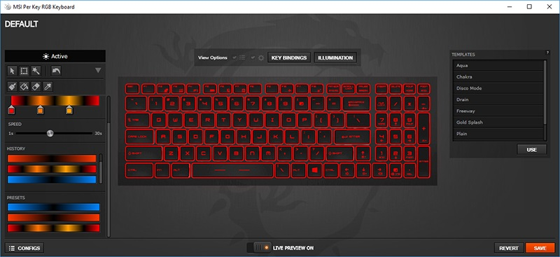 MSI GE73 Raider 8RF Per Key RGB Keyboard Config