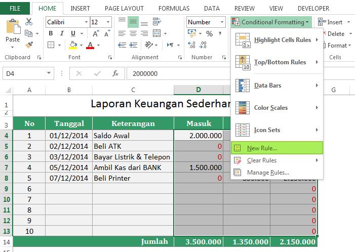 Cara Menghilangkan Tampilan Nilai Nol di Excel