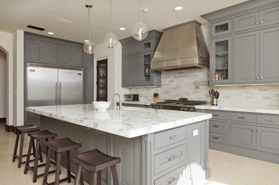 I Especially Love When The Upper Cabinets Are Lighter And The Base Or Island Cabinets Are Charcoal And Those Floors In This First Kitchen