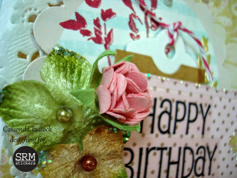 SRM Stickers Blog - Happy Birthday by Cassonda - #card #birthday #doily #stickers #punched pieces