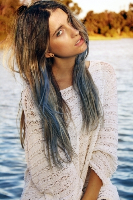 Dark Brown Hair Dip Dyed Blue