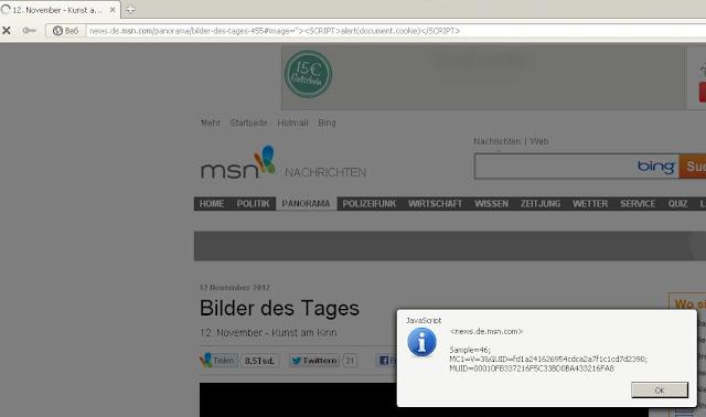 Inj3ct0r Team found XSS Vulnerability on MSN website