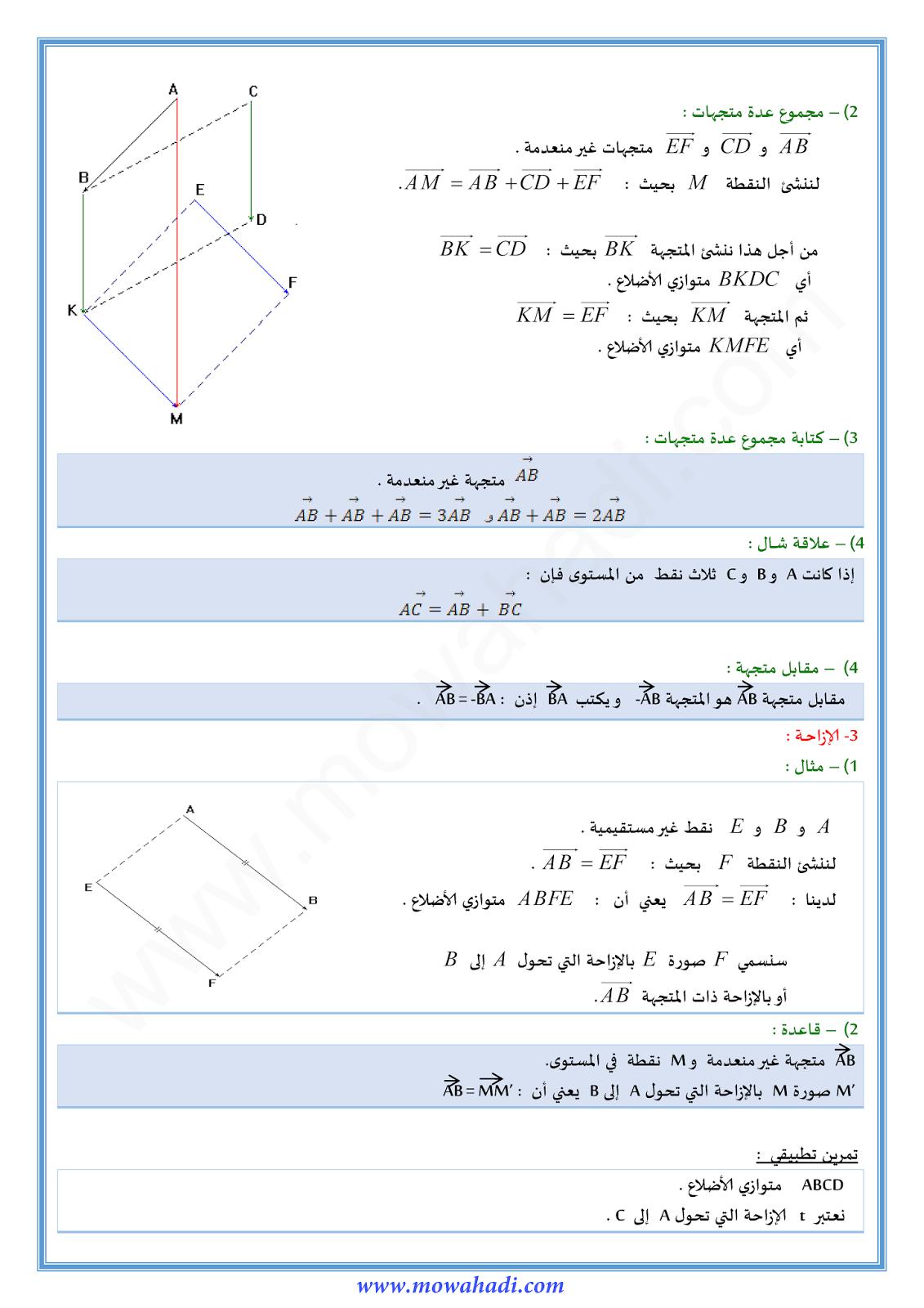 المتجهات و الازاحة في الرياضيات