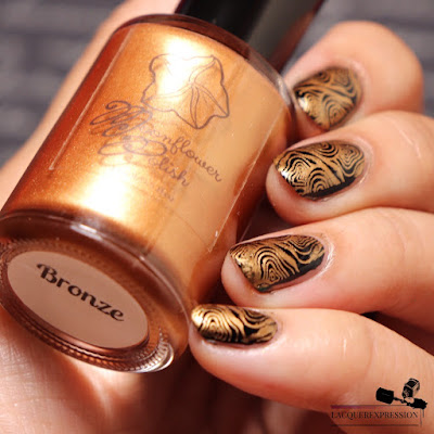 swatch of nail stamping polish Bronze by Moonflower Polish
