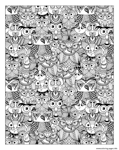 Adult Owls Printable Coloring Pages Book